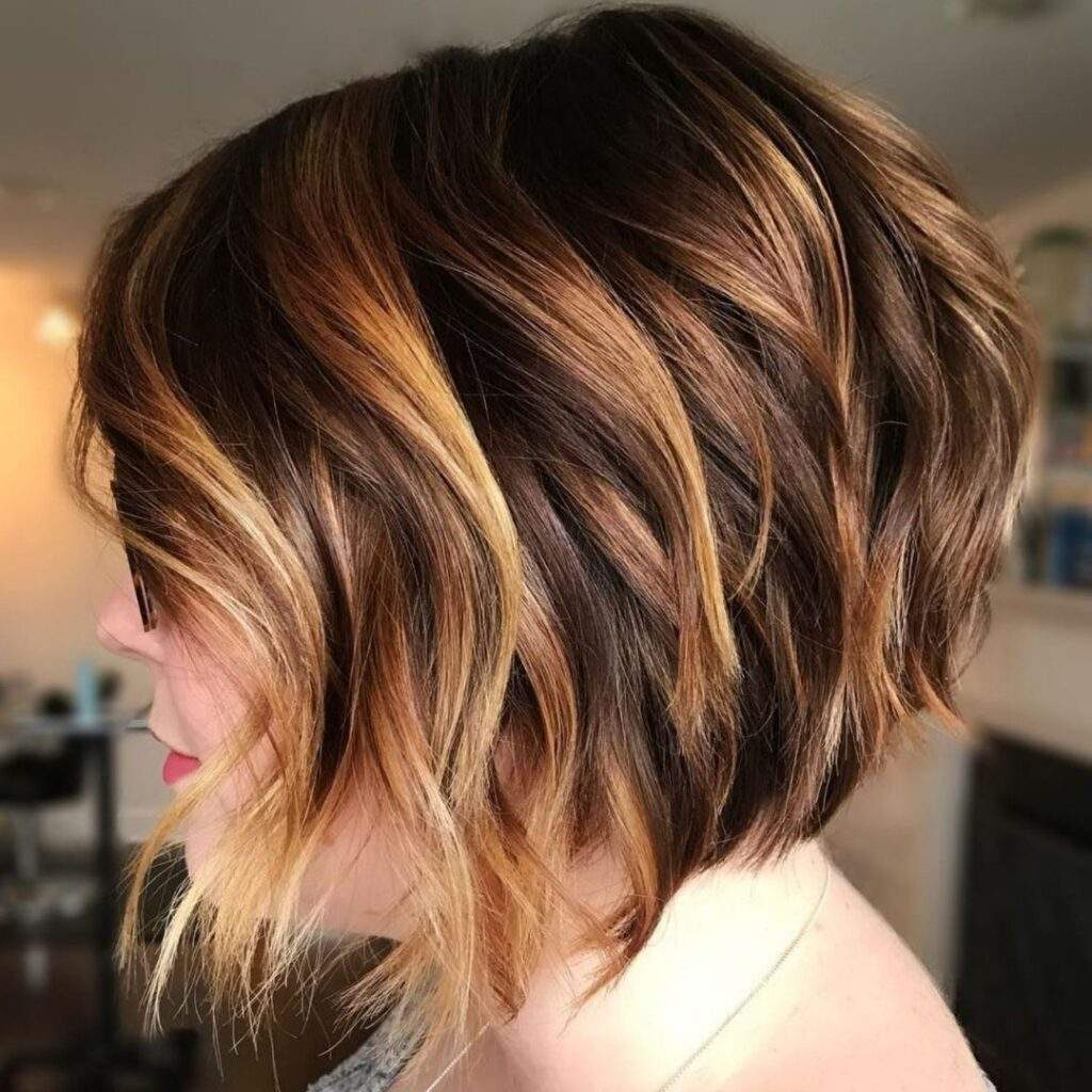 A-Line Bob With Honey Highlights for Short hairstyles